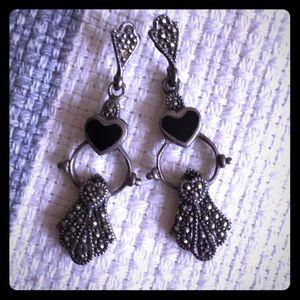 EUC Lucky Brand Marcasite Onyx Heart Earrings Boho